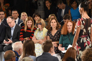 (L-R) Editor at Women's Wear Daily James Fallon, Fashion Market/Accessories Director of Vogue Virginia Smith, Editor-in-Chief of Vogue Anna Wintour, President of Global Development of Conde Nast Gina Sanders, and Creative Director of American Vogue magazine Grace Coddington attend the Carolina Herrera fashion show during Mercedes-Benz Fashion Week Spring 2015 at The Theatre at Lincoln Center on September 8, 2014 in New York City.