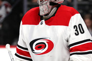 Cam Ward #30 of the Carolina Hurricanes tends goal against the Colorado Avalanche at the Pepsi Center on November 2, 2017 in Denver, Colorado.