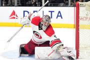 Cam Ward #30 of the Carolina Hurricanes makes a glove save during the second period against the Los Angeles Kings t Staples Center on December 8, 2016 in Los Angeles, California.