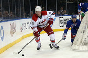 Alexander Semin #28 of the Carolina Hurricanes skates against the New York Rangers at Madison Square Garden on December 21, 2014 in New York City. Semin was appearing in his 600th NHL game.