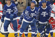Tyler Bozak #42 of the Toronto Maple Leafs celebrates a goal against the Carolina Hurricanes during an NHL game at the Air Canada Centre on December 19, 2017 in Toronto, Ontario, Canada. The Maple Leafs defeated the Hurricanes 8-1.