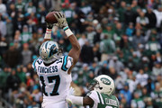 Wide receiver Devin Funchess #17 of the Carolina Panthers makes a catch against cornerback Morris Claiborne #21 of the New York Jets during the second half of the game at MetLife Stadium on November 26, 2017 in East Rutherford, New Jersey.