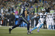 Tight end Jimmy Graham #88 of the Seattle Seahawks rushes against the Carolina Panthers at CenturyLink Field on December 4, 2016 in Seattle, Washington.
