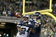 Cornerback James Bradberry #24 of the Carolina Panthers blocks a pass intended for tight end Jimmy Graham #88 of the Seattle Seahawks at CenturyLink Field on December 4, 2016 in Seattle, Washington.