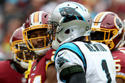 Josh Norman #24 of the Washington Redskins reacts to Cam Newton #1 of the Carolina Panthers after a play in the third quarter at FedExField on October 14, 2018 in Landover, Maryland.