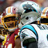 Cam Newton Josh Norman Photos - Josh Norman #24 of the Washington Redskins reacts to Cam Newton #1 of the Carolina Panthers after a play in the third quarter at FedExField on October 14, 2018 in Landover, Maryland. - Carolina Panthers vs. Washington Redskins