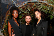 Amilna Estevao, David Koma and Yasmin Wijnaldum attend Caroline Rush, Julia Restoin Roitfeld and Bloomingdales Celebrate David Koma's 10th Anniversary at The Peninsula Hotel on October 30, 2019 in New York City.