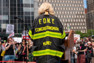 Carolyn Maloney Activists Call For Impeachment Of President Trump In New York City