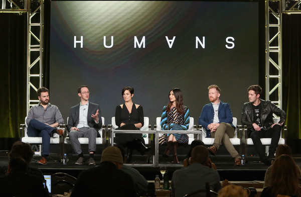 AMC Presents 'HUMANS' Season 2, Better Call Saul Season 3 [the son,event,news conference,convention,stage equipment,academic conference,conversation,public speaking,meeting,collaboration,audience,better call saul season,writers,actors,gemma chan,carrie-anne moss,sam vincent,l-r,amc,humans season]