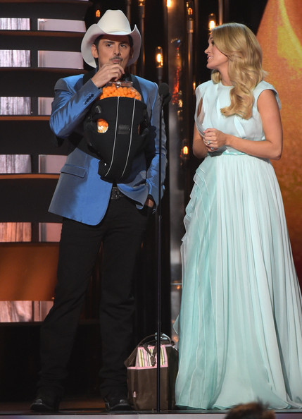 Carrie Underwood Hosts Brad Paisley and Carrie Underwood perform during the 48th annual CMA Awards at the Bridgestone Arena on November 5, 2014 in Nashville, Tennessee.