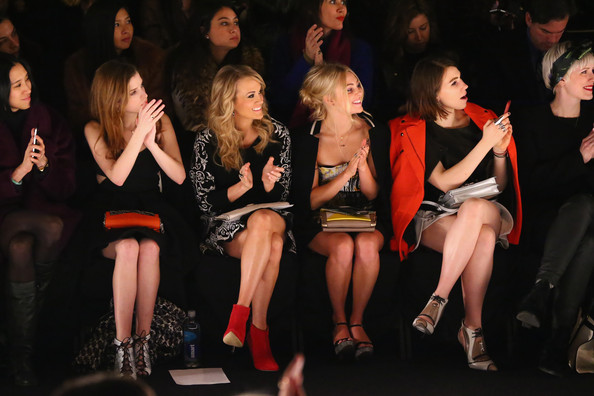 Front Row at the Rebecca Minkoff Show [fashion model,fashion,audience,catwalk,fashion show,performance art,performance,event,girl,fashion design,tresemme,front row,l-r,mercedes-benz fashion week,fashion show,rebecca minkoff,annasophia robb,zosia mamet,carrie underwood,anna kendrick]