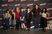 "(L-R) Charlyne Yi, Jennifer Paz, AJ Michalka, Rebecca Sugar, Kat Morris, Tom Scharpling, and Shelby Rabara of the Cartoon Network ""Steven Universe"" panel pose at New York Comic Con on October 7, 2016 in New York City."