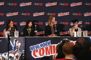 (L-R) Actress Shelby Rabara, animator Niki Yang, actor Greg Cipes and animator Rebecca Sugar speak onstage at the Cartoon Network Screening: Steven Universe. Cartoon Network at New York Comic Con at Jacob Javitz Center on October 10, 2015 in New York, United States. 25749_001 261.JPG