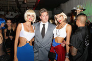 Catch Hospitality Group co-founder Mark Birnbaum (C) and model Tori Praver (R) pose with a guest dressed in costume during Casamigos & CATCH Halloween party at CATCH Las Vegas in ARIA Resort & Casino on October 27, 2018 in Las Vegas, Nevada.