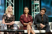 (L-R) Actors Elizabeth Lail, Shay Mitchell and John Stamos of Lifetime's 'YOU' speak onstage during The 2018 Summer Television Critics Association Press Tour on July 26, 2018 in Los Angeles, California.