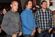 (L-R) Actors Theo Rossi, Kim Coates and Charlie Hunnam attend Cast of FX's 'Sons of Anarchy' Host 'Boot Bash' benefiting The Boot Campaign at The Bunker Lofts on August 2, 2014 in Los Angeles, California.