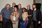 Actors Mark Boone Junior, Charlie Hunnam, Theo Rossi, Dayton Callie, and Niko Nicotera pose with U.S. Armed Forces Veterans at Cast of FX's 'Sons of Anarchy' Host 'Boot Bash' benefiting The Boot Campaign at The Bunker Lofts on August 2, 2014 in Los Angeles, California.