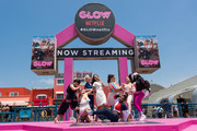 "Actresses Rebekka Johnson, Marianna Palka, Kimmy Gatewood, Britt Baron, Britney Young, Sydelle Noel, Shakira Barrera, and Kia Stevens attend 'Cast of Netflix's ""Glow"" Celebrates the premiere of Season 2 with 80's takeover on Muscle Beach' at Muscle Beach on June 29, 2018 in Venice, California."
