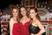"(L-R) Sarah Drew, Rachel Boston and Bethany Joy Lenz attend the VIP opening night of the life-sized gingerbread house in celebration of ""It's A Wonderful Lifetime"" at The Grove on November 14, 2018 in Los Angeles, California."