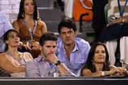 Actor Eric Bana and wife Rebecca Gleeson (front) and actors Diana Glenn and Vince Colosimo (back) watch Novak Djokovic of Serbia and Rafael Nadal of Spain in their men's finals match during day fourteen of the 2012 Australian Open at Melbourne Park on January 29, 2012 in Melbourne, Australia.