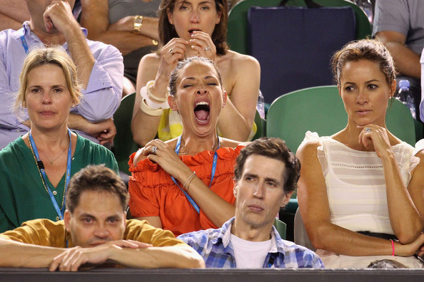 Erica Packer (C) yawns alongside her nanny (L) as they watch Novak ...