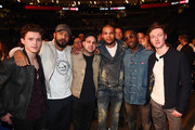 Tom Holland, Dynamo, Chris Eubank Jr. and Tinie Tempah attend the David Haye v Tony Bellew Fight at The O2 Arena on May 5, 2018 in London, England.