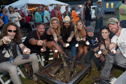 """Blackberry Smoke's Richard Turner, Cpt. Chad Fleming (Ret), """"Rock the South"""" lady Sarah Neill, Blackberry Smoke's Brit Turner, RTS lady Taylor Elliott, Colston Galloway, RTS lady Kara Leonard and US Army (RET.) and former contestant on Dancing with the Stars Noah Galloway backstage during The 4th Annual Pepsi's Rock The South Festival - Day 2  at Heritage Park in Cullman, Alabama."""