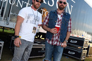 US Army retired/contestant on Dancing with the Stars Noah Galloway and Singer/Songwriter Corey Smith backstage during The 4th Annual Pepsi's Rock The South Festival - Day 2  at Heritage Park in Cullman, Alabama.