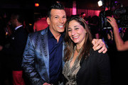 TV personality David Tutera (L) and EVP Development & Programming Lauren Gellert attend the WE tv's LA Hair Season 4 Premiere Party at Avalon on July 14, 2015 in Hollywood, California.