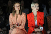 (L-R) Janina Uhse and Leonie Hanne at the Marc Cain fashion show during the Berlin Fashion Week Spring/Summer 2020 at Velodrom on July 02, 2019 in Berlin, Germany.