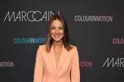 Janina Uhse at the Marc Cain fashion show during the Berlin Fashion Week Spring/Summer 2020 at Velodrom on July 02, 2019 in Berlin, Germany.