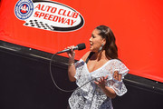 Adrienne Bailon attends the Monster Energy NASCAR Cup Series race at Auto Club Speedway at Auto Club Speedway on March 17, 2019 in Fontana, California.