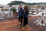 (L-R) Louis Tomlinson and Danielle Campbell attend the Red Bull Racing Energy Station at Monte Carlo on May 29, 2016 in Monaco.