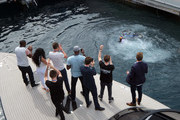 Michael Carrick, Reggie Bush, Lilit Avagyan, Benedict Cumberbatch and Disclosure watch Danny MacAskill front flip off of the Red Bull Energy Station during the Monaco Formula One Grand Prix at Circuit de Monaco on May 25, 2014 in Monte-Carlo, Monaco.