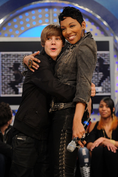 Singers Justin Bieber and Monica visit BET's 106 & Park at BET Studios on March 22, 2010 in New York City.