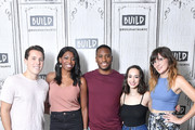 (L-R) Lukas Thimm, Brittany Jones-Cooper, actor Tyrone Marshall Brown, Ali Kolbert and Shannon Coffey pose following the Build Brunch at Build Studio on August 6, 2018 in New York City.