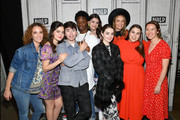 (L - R) Jessica Elbaum, Molly Gordon, Noah Galvin, Austin Crute, Diana Silvers, Kaitlyn Dever, Olivia Wilde, Beanie Feldstein, and Katie Silberman visit Build Studios on May 22, 2019 in New York City.