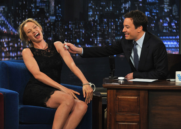 "Uma Thurman and Jimmy Fallon appear on ""Late Night with Jimmy Fallon"" at Rockefeller Center on April 8, 2011 in New York City."