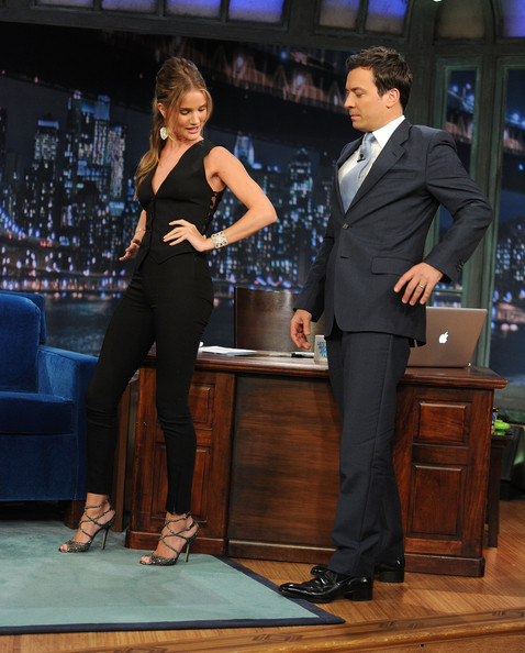 "Model/Actress Rosie Huntington-Whiteley and host Jimmy Fallon visit ""Late Night With Jimmy Fallon"" at Rockefeller Center on June 16, 2011 in New York City."