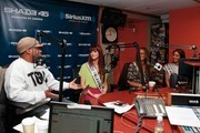 """(L-R) Sway interviews Miss USA contestants Miss Oklahoma Lauren Lundeen, Miss Nevada Jade Kelsall and Miss New York Johanna Sambucini at """"Sway in the Morning"""" on Eminem's Shade 45 channel at the SiriusXM studio on May 9, 2012 in New York City."""