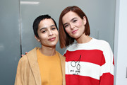 (EXCLUSIVE COVERAGE) Zoe Kravitz and Zoey Deutch run into each other at SiriusXM Studios on February 14, 2020 in New York City.