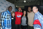 (2nd from L-R) Philanthropist Sandi Young, NFL player Larry Fitzgerald of the Arizona Cardinals, Ashley Peterson, NFL player Adrian Peterson of the Minnesota Vikings and guests attend the Starkey Hearing Foundation hearing mission during Super Bowl weekend 2016 at San Francisco State University on February 6, 2016 in San Francisco, California.