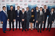 """(L-R) Actors Byron Mann, Christian Bale, Ryan Gosling, chairman and CEO of Paramount Pictures Brad Grey, actors Steve Carell and Marisa Tomei, producer Jeremy Kleiner, actor Finn Wittrock, director Adam McKay and composer Nicholas Britell attend the closing night gala premiere of Paramount Pictures' """"The Big Short"""" during AFI FEST 2015 at TCL Chinese Theatre on November 12, 2015 in Hollywood, California."""