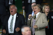 Rod Stewart, singer reacts prior to the UEFA Europa League Group B match between Celtic and Rosenborg at Celtic Park on September 20, 2018 in Glasgow, United Kingdom.