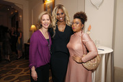 (L-R) Center for Reproductive Rights President Nancy Northup, Laverne Cox and AJ Hayes attend The Center for Reproductive Rights 2020 Los Angeles Benefit on February 27, 2020 in Beverly Hills, California.