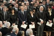 Incumbent  Prime Minister David Cameron and his wife Samantha and former PM's John Major, Tony Blair and Gordon Brown and their spouses Cherie, Norma and Sarah attend the funeral of Baroness Margaret Thatcher at St Paul's Cathedral on April 17, 2013 in London, England. Dignitaries from around the world today join Queen Elizabeth II and Prince Philip, Duke of Edinburgh as the United Kingdom pays tribute to former Prime Minister Baroness Thatcher during a Ceremonial funeral with military honours at St Paul's Cathedral. Lady Thatcher, who died last week, was the first British female Prime Minister and served from 1979 to 1990.