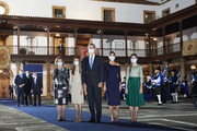 (L-R) Queen Sofia, Crown Princess Leonor of Spain, King Felipe VI of Spain, Queen Sofia of Spain and Princess Sofia of Spain attend the Princesa de Asturias Awards 2020 ceremony at the Reconquista Hotel on October 16, 2020 in Oviedo, Spain.