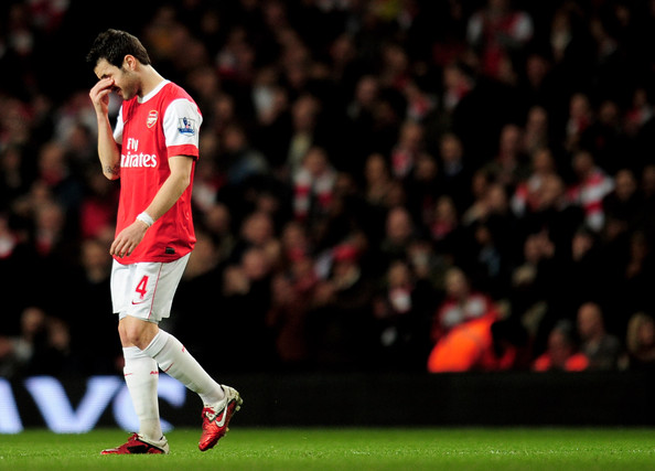 Cesc Fabregas Cesc Fabregas of Arsenal looks dejected as he leaves the pitch injured during the Barclays Premier League match between Arsenal and Stoke City at the Emirates Stadium on February 23, 2011 in London, England.