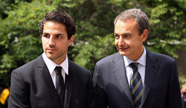 Arsenal and Spanish international footballer Cesc Fabregas (L) and Spanish Prime Minister Jose Luis Rodriguez Zapatero attend a reception in the garden of 10 Downing Street on July 25, 2011 in London, England. The event was to mark the graduation of young people involved in the Street League football Academy, a charity helping young people change their lives through football.