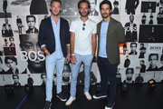 (L-R) Andre Lotterer, Jean-Eric Vergne and Lucas Di Grassi attend the Champions Wear BOSS on July 12, 2018 in New York City.